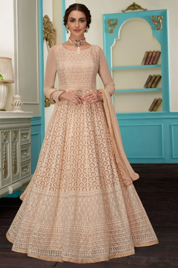 Pretty Cream Embroidered Designer Georgette Fabric Abaya Style Anarkali Suit With Nazmin Dupatta