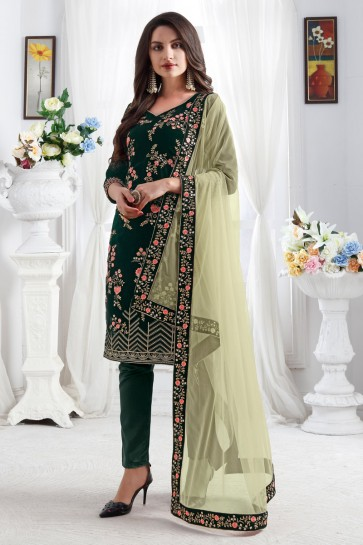 Velvet Fabric Green Resham Embroidered Designer Stylish Salwar Kameez With Net Dupatta