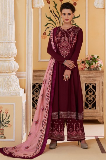 Embroidered Designer Magenta Maslin Fabric Stylish Plazzo Suit And Dupatta