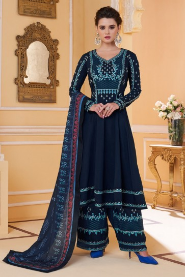 Heavy Designer Navy Blue Maslin Fabric Embroidery Work Plazzo Suit And Dupatta