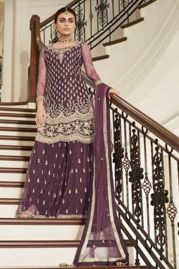 Delightful Wine Net Fabric Embroidery And Hand Work Sharara Style Plazzo Suit And Dupatta