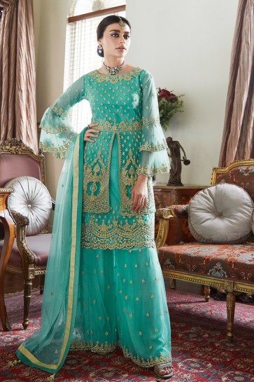Sharara Style Embroidered And Hand Work Designer Turquoise Net Fabric Plazzo Suit And Dupatta