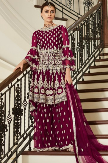 Solid Net Fabric Maroon Hand Work And Embroidered Sharara Style Plazzo Suit And Dupatta