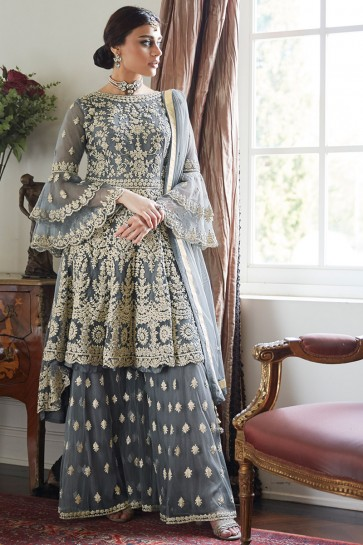 Hand Work And Embroidered Grey Net Fabric Sharara Style Plazzo Suit And Dupatta