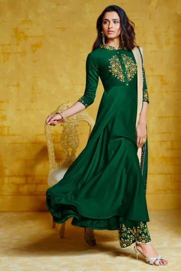Fascinating Green Maslin Fabric Embroidery Work Designer Plazzo Suit And Dupatta