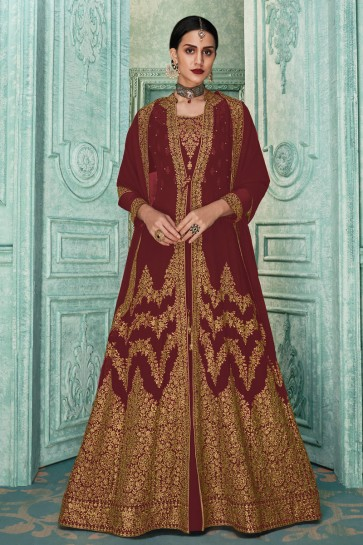 Designer Maroon Embroidered Faux Georgette Anarkali Suit And Dupatta