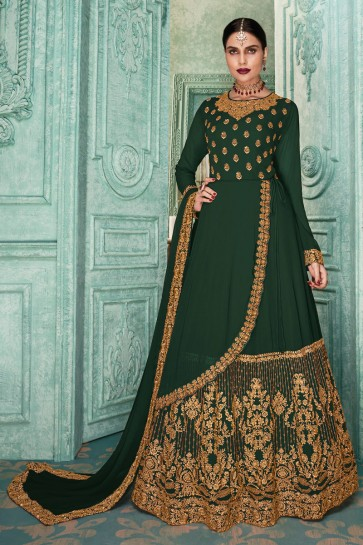 Embroidered Designer Embroidered Mehendi Green Faux Georgette Anarkali Suit And Dupatta