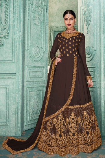 Designer Embroidered Brown Faux Georgette Anarkali Suit And Dupatta