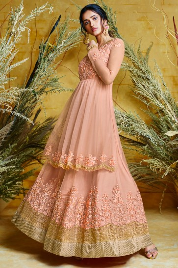 Charming Peach Net Embroidered Anarkali Suit And Dupatta