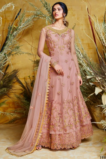 Wine Embroidered Net Anarkali Suit And Dupatta