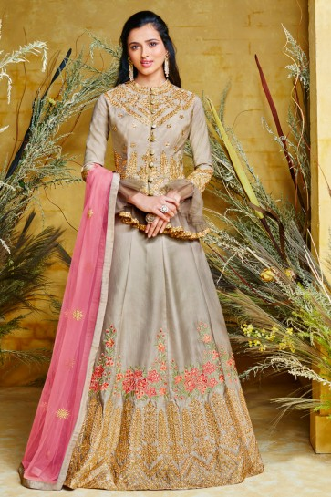 Designer Silver Embroidered Net And Silk Anarkali Suit And Dupatta