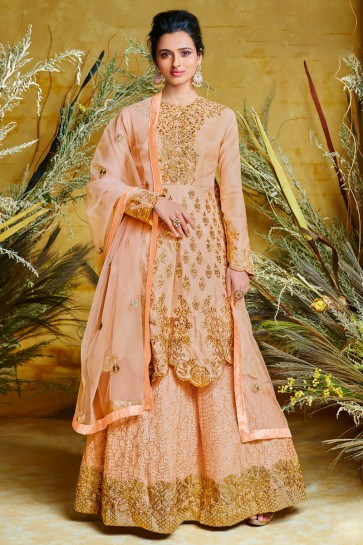 Beautiful Peach Embroidered Designer Net And Silk Anarkali Suit And Dupatta