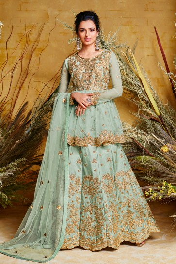 Charming Sky Blue Embroidered Net And Silk Anarkali Suit And Dupatta