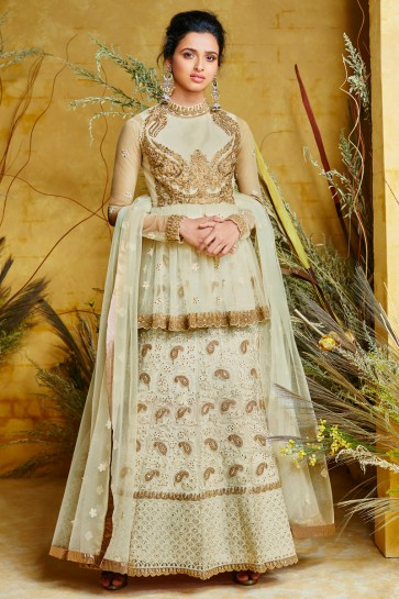 Embroidered Net And Silk Pista Anarkali Suit And Dupatta