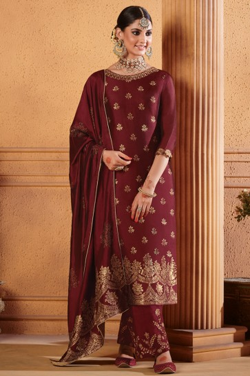Charming Maroon Embroidered Jacquard Plazzo Suit And Dupatta