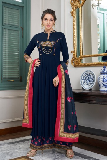 Navy Blue Embroidered Maslin Plazzo Suit And Dupatta