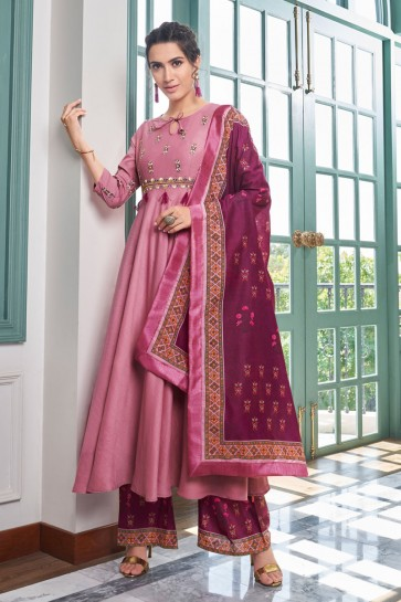 Delightful Pink Embroidered Maslin Plazzo Suit And Dupatta