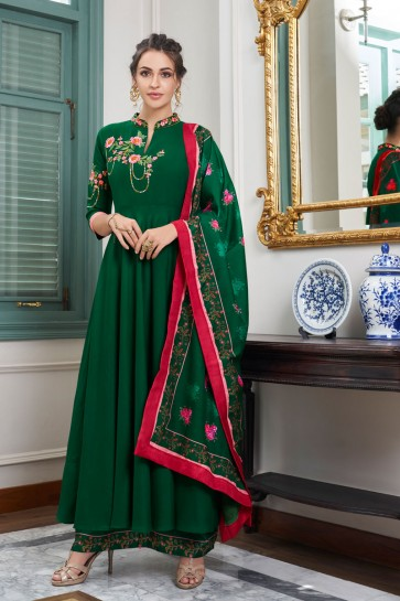 Marvelous Green Embroidered Maslin Plazzo Suit And Dupatta