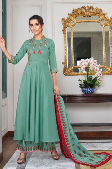 Lovely Embroidered Pista Maslin Plazzo Suit And Dupatta