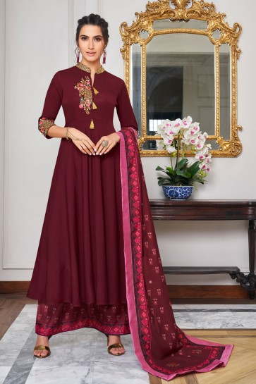 Gorgeous Maroon Embroidered Maslin Plazzo Suit And Dupatta