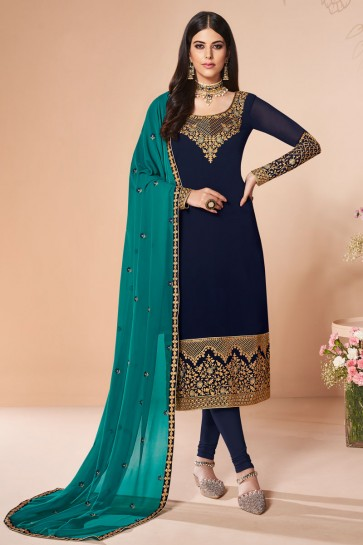 Delightful Navy Blue Embroidered Georgette Salwar Suit And Dupatta