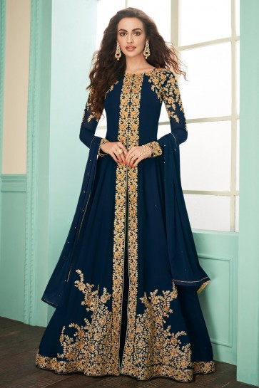 Designer Navy Blue Embroidered Georgette Anarkali Suit With Chinon Dupatta