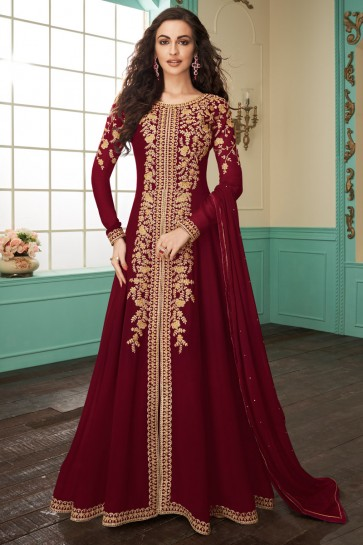 Embroidered Designer Maroon Georgette Anarkali Suit With Chinon Dupatta