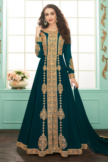 Classy Embroidered Georgette Blue Anarkali Suit With Chinon Dupatta