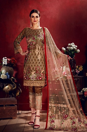 Khaki Embroidered Georgette Salwar Suit With Net Dupatta