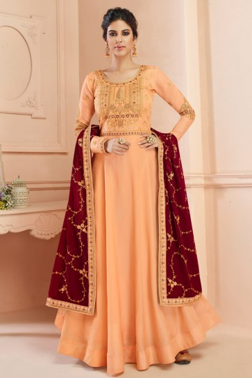 Designer Peach Embroidered Silk Anarkali Suit With Georgette Dupatta