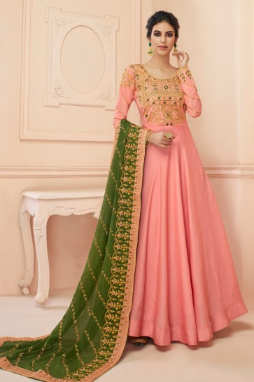 Charming Light Pink Embroidered Silk Anarkali Suit With Georgette Dupatta