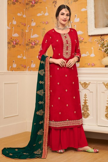Embroidered Red Viscose Fabric Stylish Plazzo Suit With Georgette Dupatta
