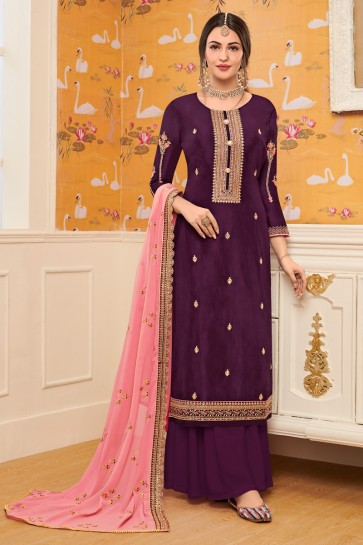 Viscose Fabric Wine Embroidered Plazzo Suit With Georgette Dupatta