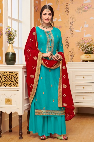Viscose Fabric Sky Blue Embroidery Work Plazzo Suit With Georgette Dupatta