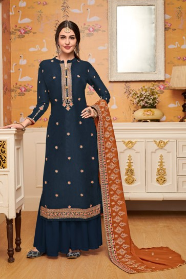 Party Wear Embroidery Work Charcoal Viscose Stylish Plazzo Suit With Georgette Dupatta