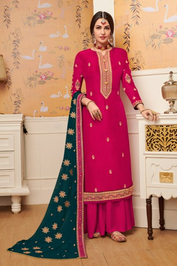 Elegant Viscose Fabric Pink Embroidered Plazzo Suit With Georgette Dupatta