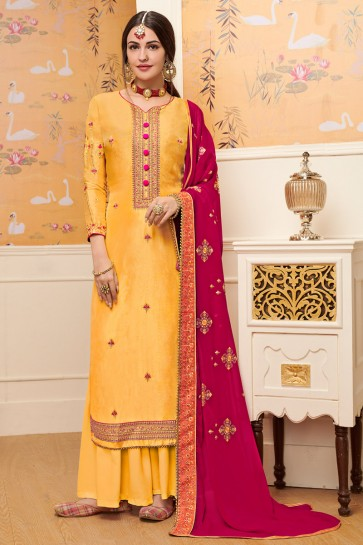 Stunning Yellow Embroidered Viscose Plazzo Suit With Georgette Dupatta