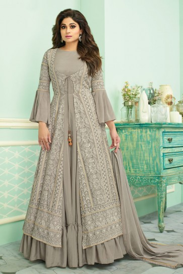 Shamita Shetty Embroidered Grey Georgette Fabric Anarkali Suit With Chinon Dupatta