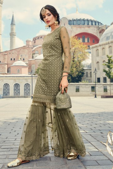 Designer Green Embroidered Net Plazzo Suit And Dupatta