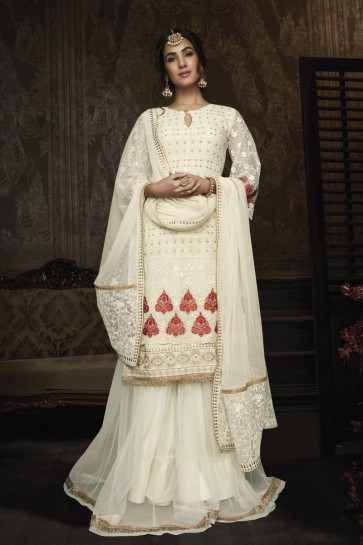 Sonal Chauhan Designer White Embroidered Georgette Plazzo Suit With Net Dupatta