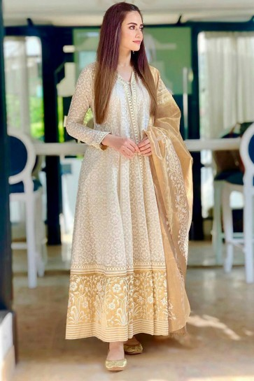 Embroidered Off White Faux Georgette Fabric Anarkali Suit With Organza Dupatta