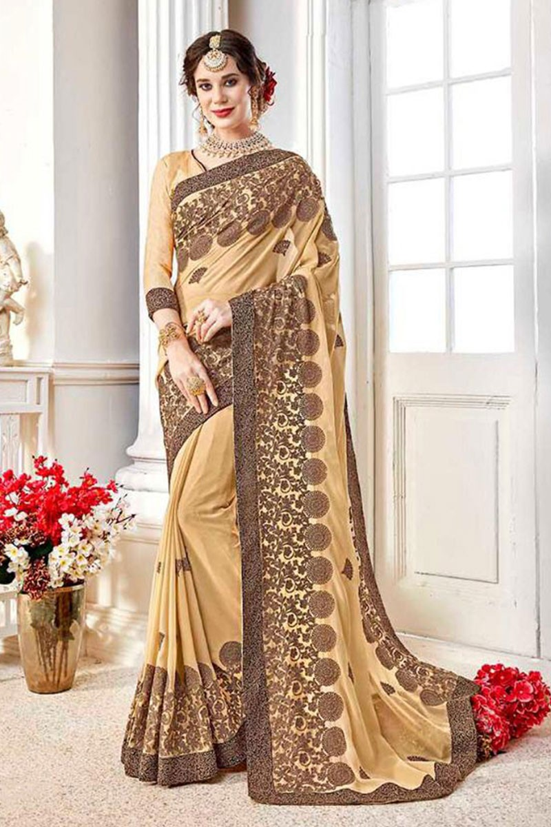 50fc670c8a4 Supreme Beige Fancy Fabric Embroidered Designer Saree With Fancy Fabric  Blouse