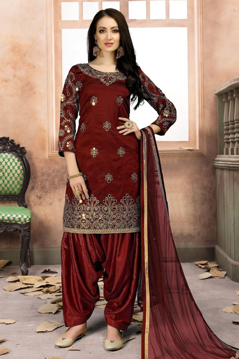 bc4960938f Stylish Black Silk Embroidered Work Patiala Salwar Suit from salwars ...