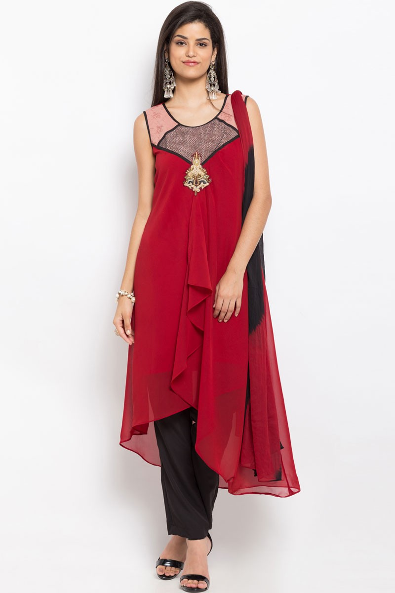 b4823d6129 Desirable Red Party Wear Embroidered Work Plus Size Readymade Salwar Suit.  Hover to zoom