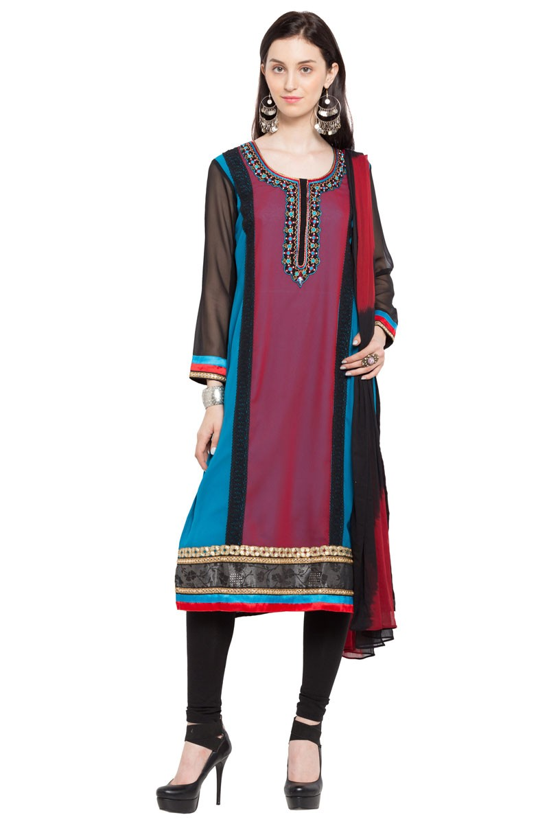 970a6a60b9 Excellent Multi Color Georgette Churidar Plus Size Readymade Salwar Suit  with Faux Chiffon Dupatta. Hover to zoom