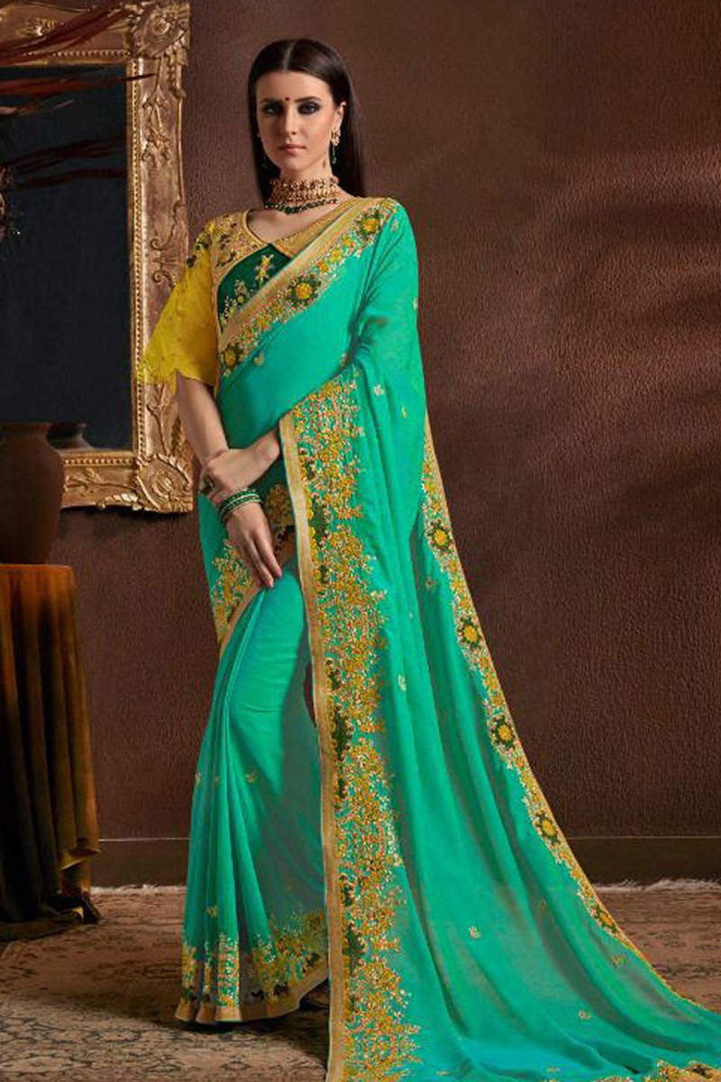 091ed35098d60e Lovely Turquoise Georgette Embroidered Designer Saree With Silk Blouse