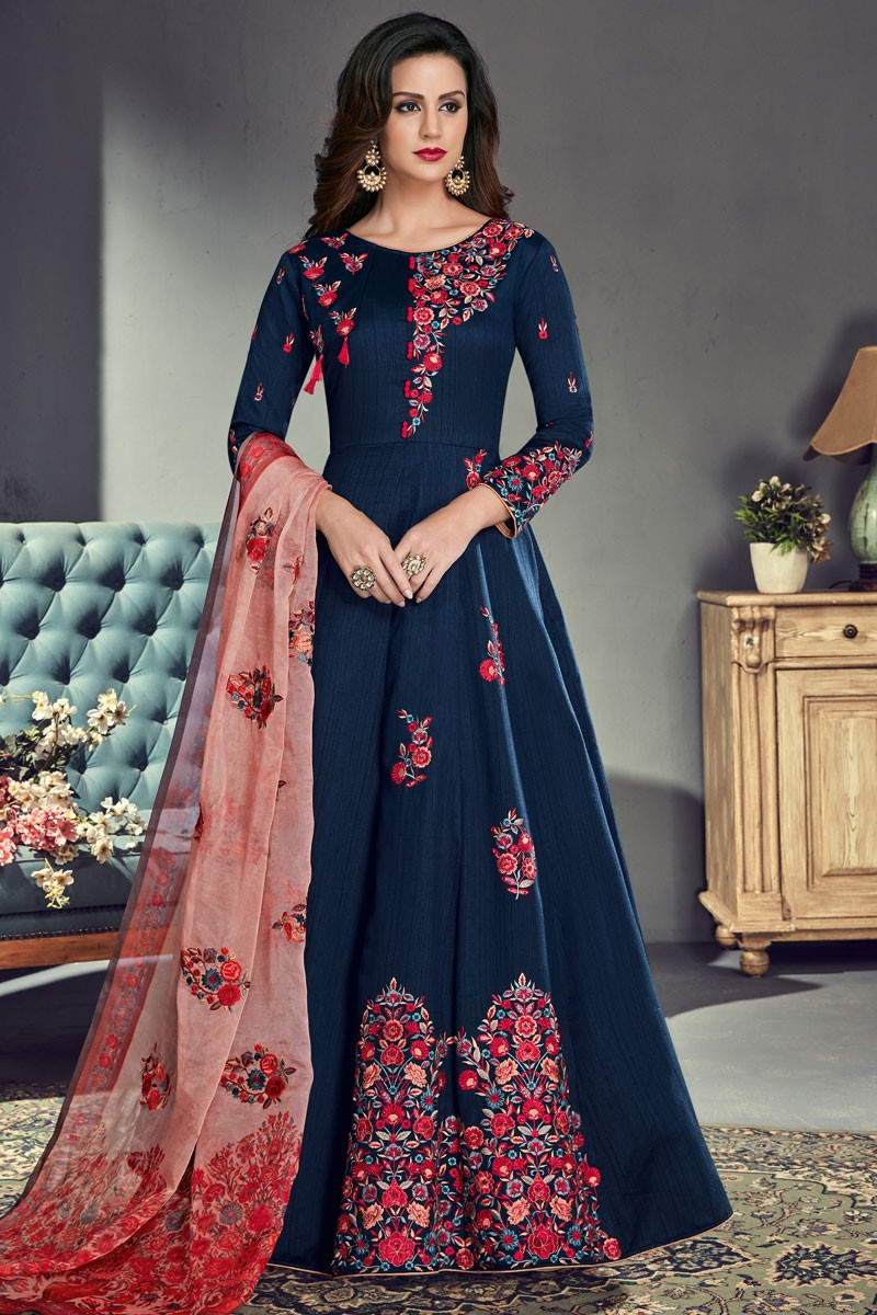 80fd945850 Marvelous Navy Blue Silk Embroidered Anarkali Salwar Suit With Organza  Dupatta