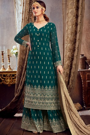 Georgette Green Embroidered Lace Work Plazzo Suit With Dupatta