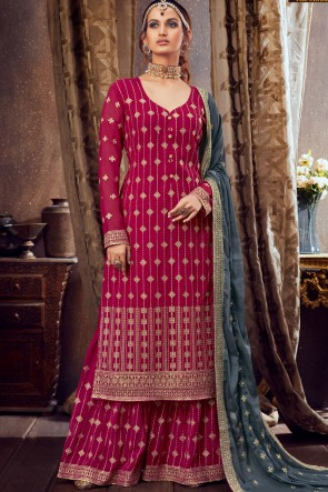 Pink Georgette Embroidered Lace Work  Plazzo Suit With Dupatta