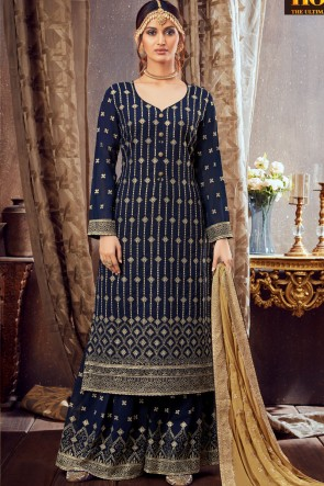 Embroidered Lace Worked Navy Blue Georgette Plazzo Suit With Dupatta